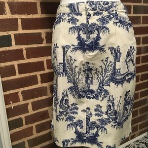 Mossimo Skirt Sz 8 Navy Toile Print Stretch Short